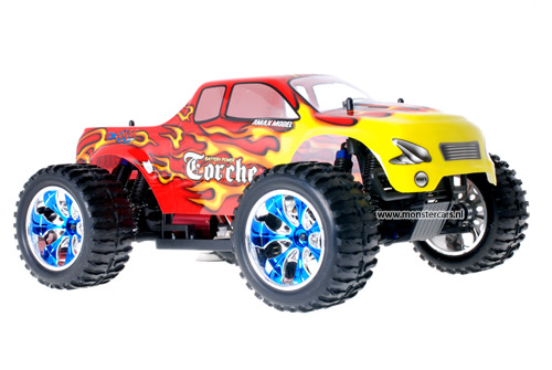 Himoto Brushless Truck Red Flames 2.4GHz AANBIEDING!